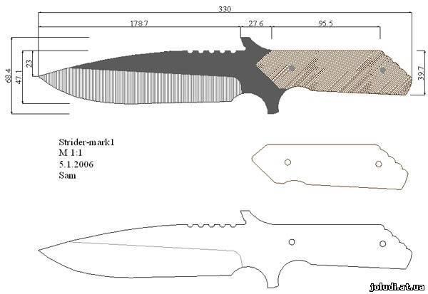 Как сделать ножи из дерева чертеж